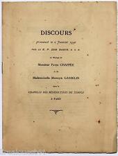 Discours du 2 janvier 1930 de Dom Babin mariage Chappée Gasselin à Paris