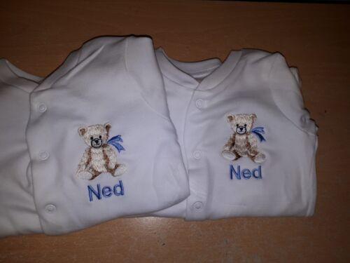 recién Nacido Regalo Oso de Peluche de cualquier nombre Personalizado Bordado Bebé Dormir Trajes