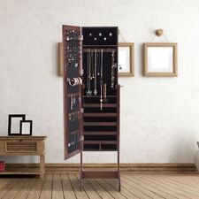 Black Wood Full Length Mirror Jewelry Armoire Cabinet Storage Floor