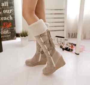 Women-039-s-Mid-Calf-Boots-Wedges-Platform-Faux-Fur-Lace-Up-Suede-High-Heels-Shoes