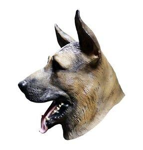 sch ferhund maske hund els sser latex ganzer kopf halloween hunde kost m ebay. Black Bedroom Furniture Sets. Home Design Ideas