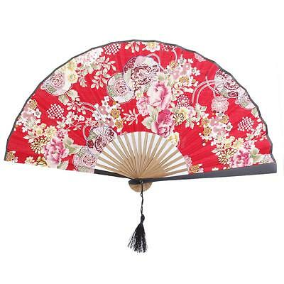 Japanese Flowers Silk Bamboo Folding Hand Fan Vintage Wedding Favor Party