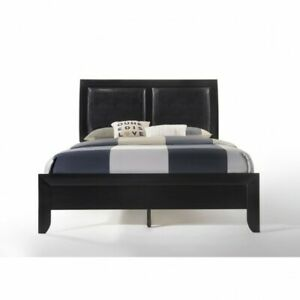 Details About Queen Bed Wooden Black Bedframe Leather Headboard Bedstead Bedroom Furniture