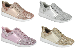 Womens-Sequin-Glitter-Athletic-Lace-Up-Fashion-Shoes-Walking-Casual-Gym-Sneakers