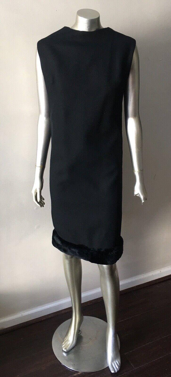 Fox Fur Mod Gogo Vintage 60s Wool schwarz Midi Shift Formal Dress Sz M 10