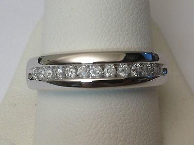 Size 8 MENS 1/4c DIAMONDS WEDDING BAND White GOLD Anniversary Ring Round Channel