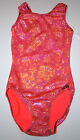 NWT New Alpha Factor Leotard Leo Holo Hologram Pink Orange Flower Girl + Women