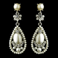 Bridal Earrings 2585 Antique Silver Clear Rhinestone & Off-white Pearl