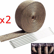 "2 Roll x 2"" Titanium 50Ft Exhaust Header Fiberglass Heat Wrap Tape+12 Ties Kit"