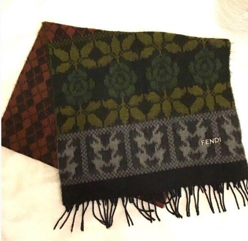 Fendi 100% Wool Colorful Scarf Blanket Scarf