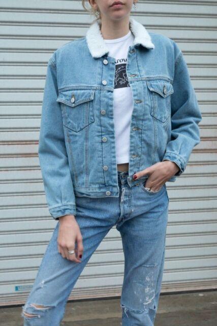 82f3f17c1b36 Brandy Melville Sherpa Lined Button up Blue Shaine Fur Denim Jacket ...