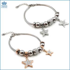 Bracciale da donna braccialetto maglia snake con stelle stellina in acciaio inox