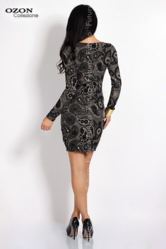 Cocktail Pencil Dress Scoop Neck Bodycon Long Sleeve Tunic Sizes 8-12 FC4099