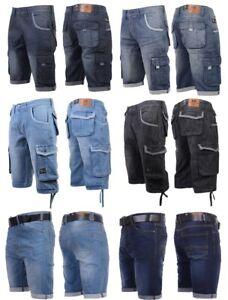 Mens-Crosshatch-Denim-Cargo-Shorts-Designer-Jeans-Cargo-Casual-3-4-Knee-Length