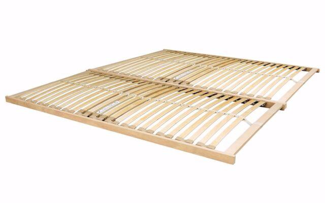 Nevada Double 4ft6 Wooden Slatted Bed Base Frame Sprung Curved Slats ...