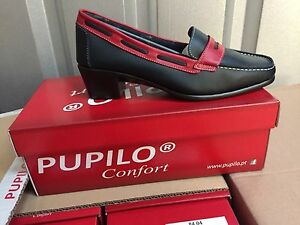 Onorevoli Blu Scuro / Rosso Comfort In Pelle Con Tacco Basso Scarpe Size7