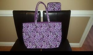 Vera Bradley ICONIC GRANDE TOTE Lilac Paisley XL Carry-on Luggage with Wallet