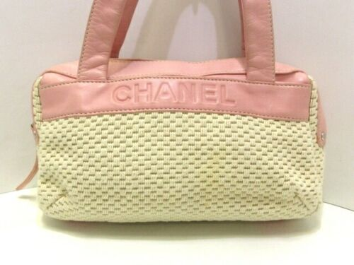Auth CHANEL A28235 Ivory Pink Cotton & Leather Han