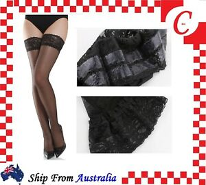 9beff0c7433 Lady Sheer Lace Top Non-slip Thigh High Stockings Hold-up Pull up ...