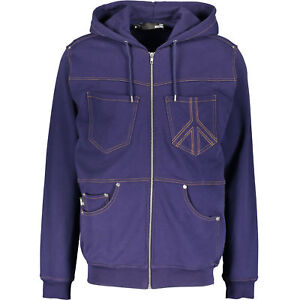 LOVE-MOSCHINO-Men-039-s-Navy-Denim-Look-Hooded-Jersey-Jacket-Medium