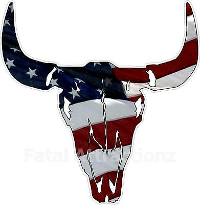 American Flag Bull Skull Vinyl Sticker Decal Hunting