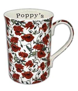 BN Boxed Personalised Poppy Chintz Vintage Floral Fine Bone China Mug Mug Gift