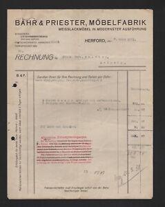 Herford Rechnung 1931 Bähr Priester Möbel Fabrik Weisslackmöbel