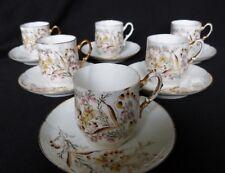6 tasses à café en porcelaine de Paris oiseau papillon