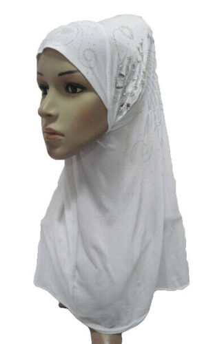 One Piece Women Muslim Headscarf Wrap Hijab Amira Hot Drilling Islamic Shawl Hat