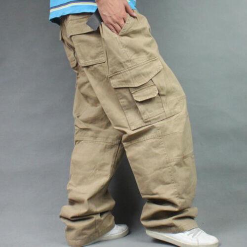 Men Plus Size Cargo Trousers Work Outdoor Pants Casual Baggy Punk Pockets Cotton