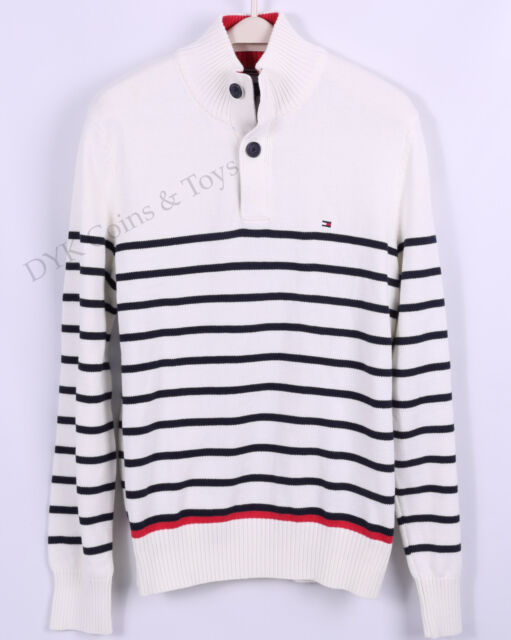 Tommy Hilfiger Men 2-Button Mock Turtle Neck Stripe Solid Sweater - $0 Shipping