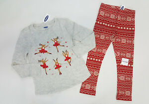 NWT-Old-Navy-Girls-Size-4t-or-5t-Ballerina-Reindeer-amp-Red-Fair-Isle-Leggings
