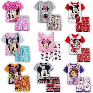 Maedchen-Jungen-Kinder-Mickey-Minnie-Nachtwaesche-Pyjama-T-Shirt-Hosen-Outfits-Set