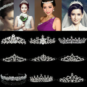 Wedding-Bridal-Tiara-Rhinestone-Crystal-Crown-Veil-Headband-Tiara-Pageant-Prom
