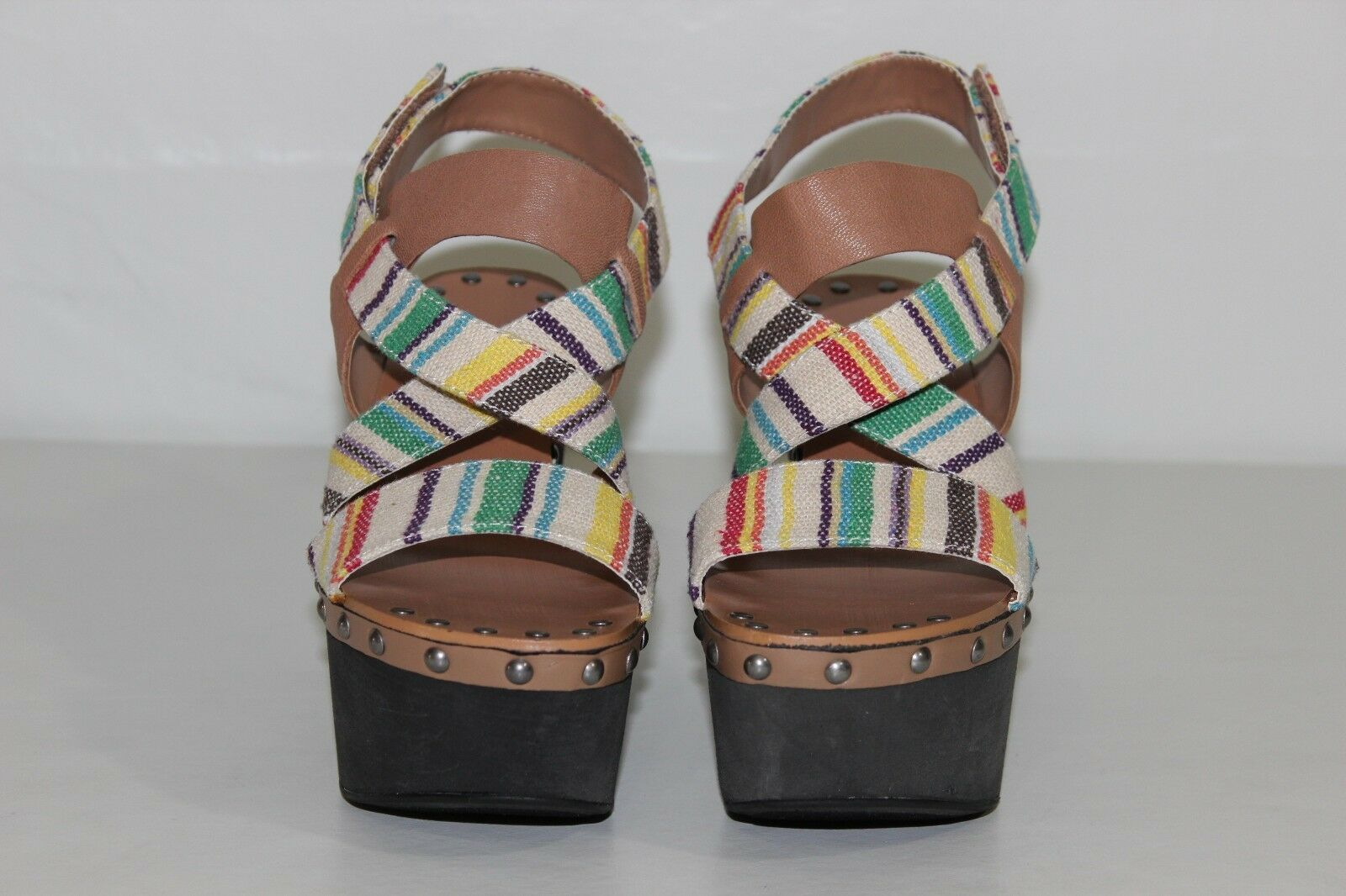 Joe's M Donna 7 M Joe's Brown Multi Color Straps Open Toe Strappy Wedges Sandals Shoes e38777