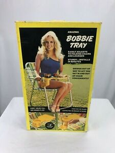 Bobbie-Tray-VTG-Camping-Lawn-Chair-Food-And-Beverage-Tray-Aluminum-Frame-Rare