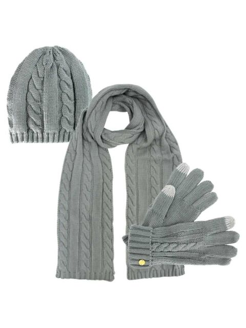 bdd4c310608 Cable Knit 3 Piece Beanie Hat Texting Gloves   Matching Scarf Set Light  Grey for sale online
