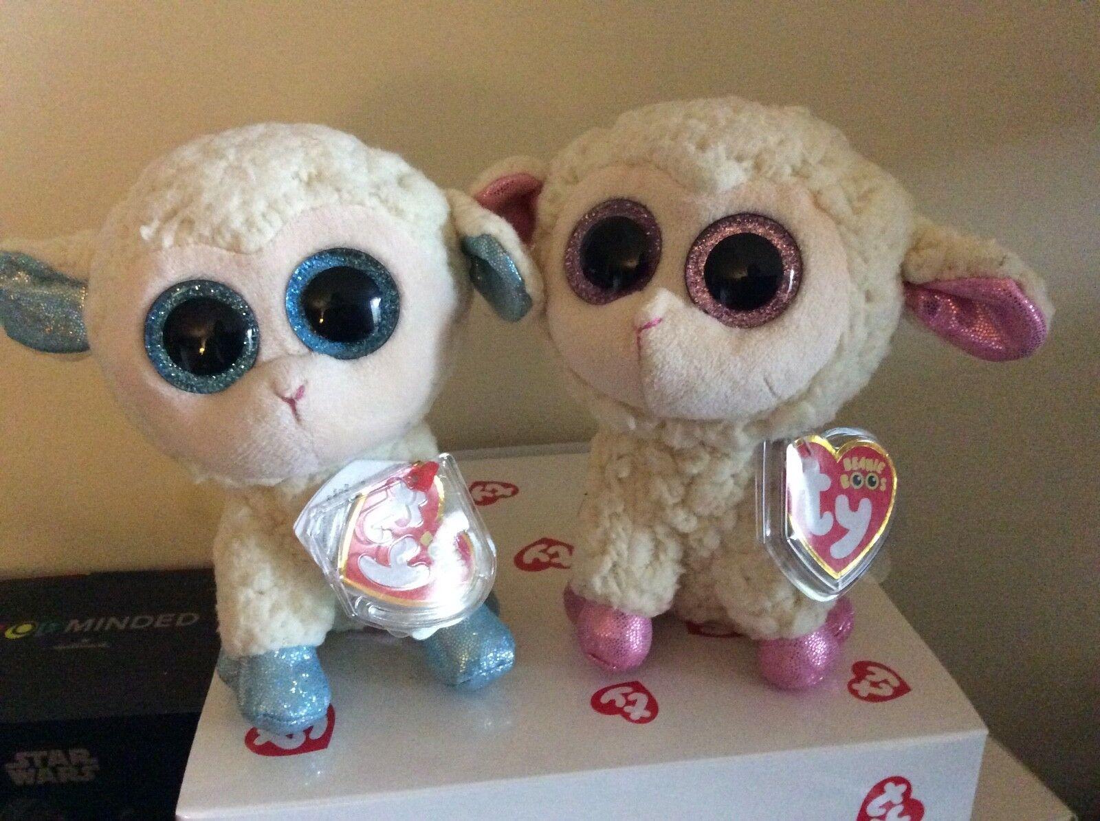 Ty Ty Ty Beanie Boo Lambs OLGA & DARIA European Exclusives 6  MWMTS 497217