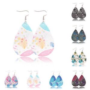 Women-Hook-Pendant-Double-Side-PU-Water-Dangle-Drop-Earrings-Eardrop-Jewelry