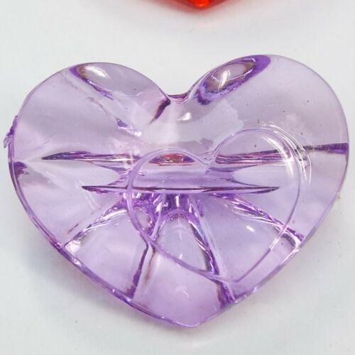9 COLOUR Large 30mm Heart Button Clear Transparent Love Coat Jacket BUY 2 4 8