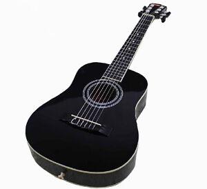 23-Holzgitarre-Musikinstrument-Kinder-Geschenk-6-Saiten-Gitarre-Schwarz