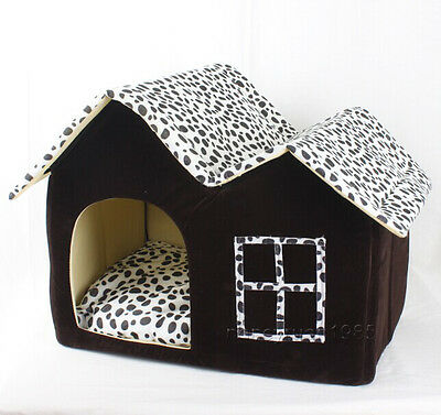 New Classical Milch Cow Double Room Pet Dog Cat House Bed Brown Medium Kennel
