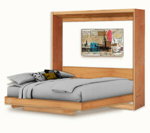 Horizontal Queen Wall Bed Murphy Bed with Table Woodworking Plans