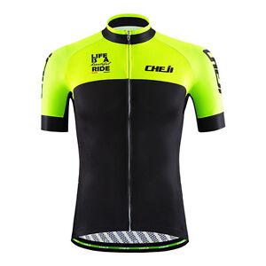 CHEJI Cycling Jersey High Visibility Men s Bike MTB Shirt Top ... 3082188b3