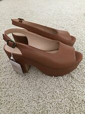 Zara Slingback Platform Heeled Sandals Size 8 Brown