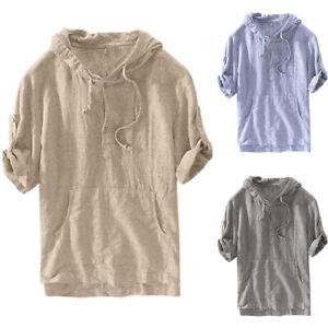 Mens-Short-Sleeve-Hoodie-Sweatshirt-Pullover-Summer-Casual-Jumper-Tops-T-shirt