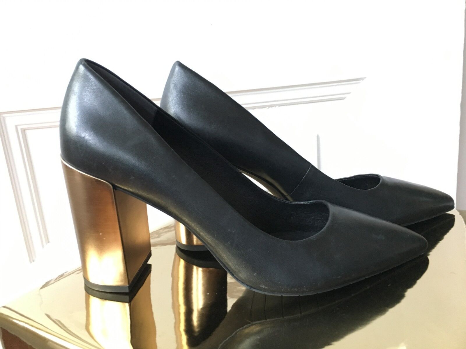 NWOT Size 8.5 Kenneth Cole Margaux Black Pewter Leather Pumps