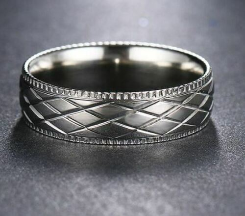 11.2 Dedo del anillo anillo anillo de compromiso de acero inoxidable unisex patrón plata color