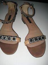 Vintage Sergio Rossi runway flat sandals ankle straps