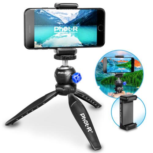 Phot-R Mini Table Top Travel Tripod 360° Ball Head Universal Camera Phone Holder